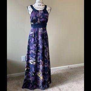 BCBG Purple & Navy Silk Maxi Dress